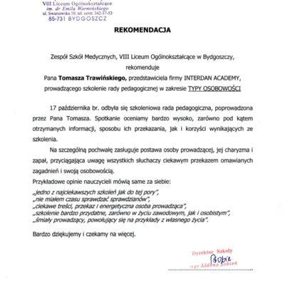 Zespół Szkół Medycznych, VIII LO w Bydgoszczy